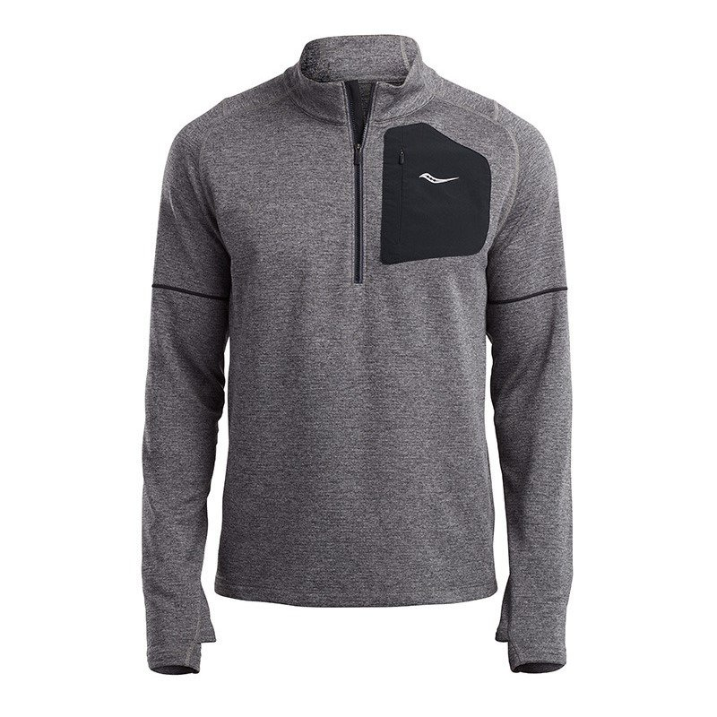 bluza do biegania męska SAUCONY RUNSTRONG THERMAL SPORTOP DARK GREY HEATHER / SAM800187-DGH RunnersClub 43002